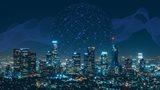 Stadt mit Nachtlichtern